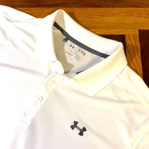 Under Armour men's XL white polo shirt EUC